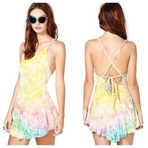 UNIF Rink Pastel Tie Dye Velvet Skater Dress